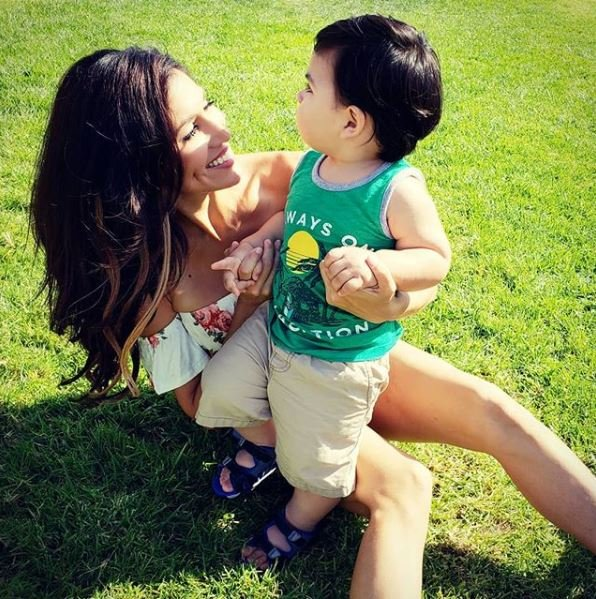Mary Castro playing with her son in Redondo Beach, California on 26th August 2018.