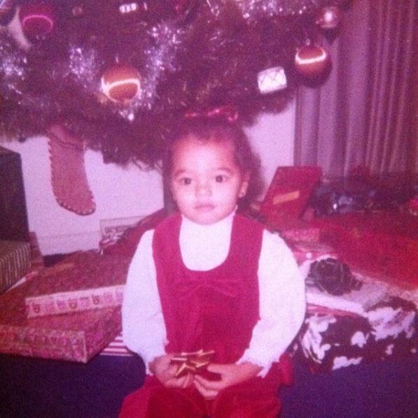 Childhood photo of Chelsi Smith on Christmas Day.