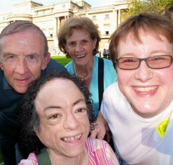 Liz Carr and her husband, Jo Church with their fans.