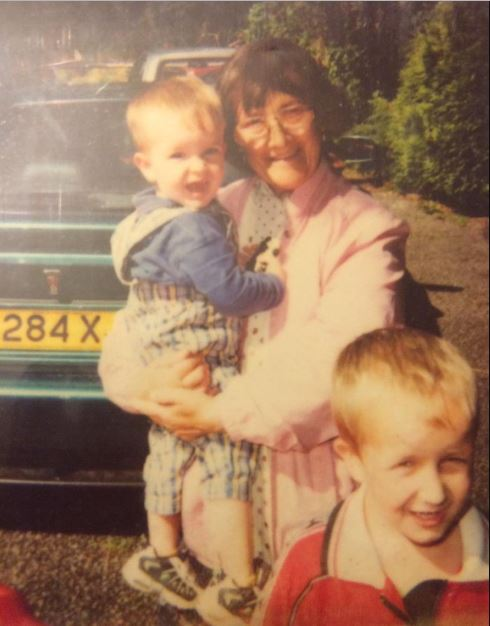 Cometan with his granny and younger brother.