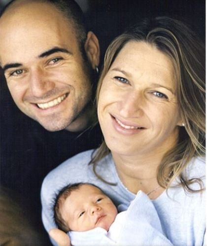 Childhood photo of Jaden Gil Agassi in his mother's arm aside with his father.