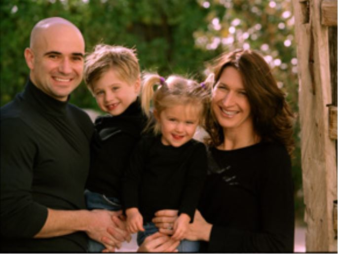 Family photo of Jaden Gil Agassi.