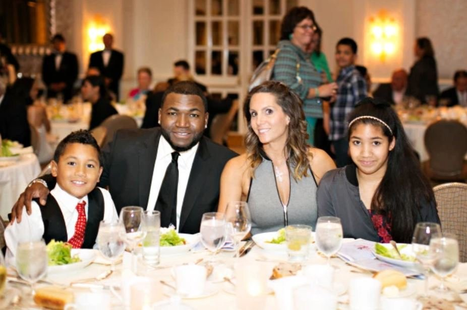 David Ortiz having dinner with his wife and kids.