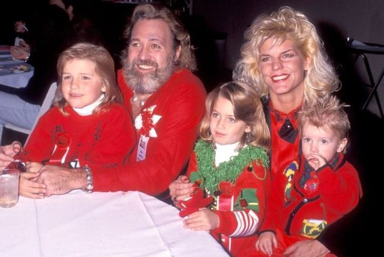 Dan Haggerty and his wife, Samantha Hilton with their children.