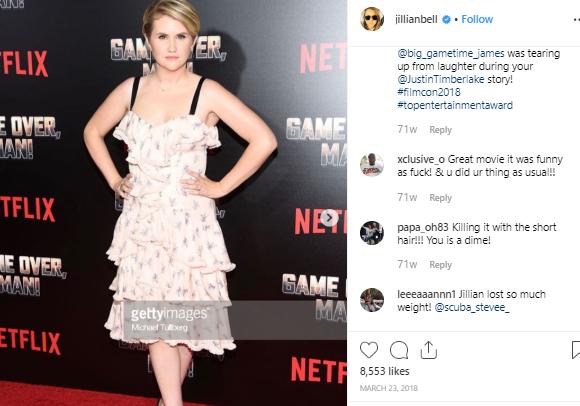Jillian Bell appeared in the red carpet
