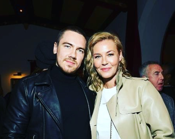 Connie Nielsen with her son