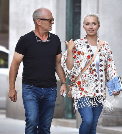 skip panettiere walking in the street along with his daughter