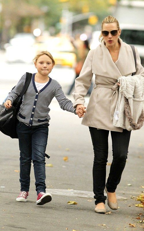 Mia Honey Threapleton walked in the street along with her mother