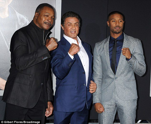 Carl with Sylvester and Michael in CREED Premiere