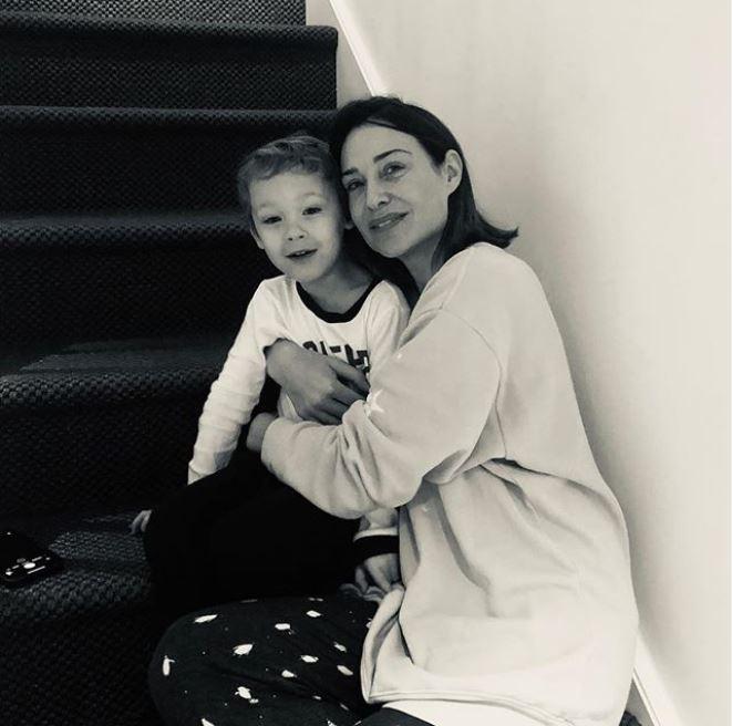 Dougray Scott's wife, Claire Forlani with their adorable son, Milo Thomas Scott.