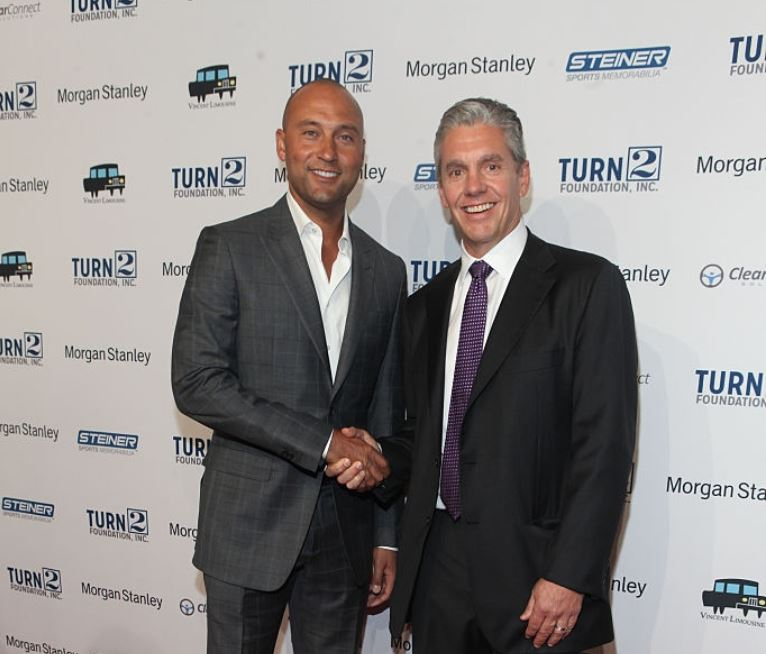 Casey Close with his client, Derek Jeter at 19th Annual Turn 2 Foundation Dinner at Cipriani Wall Street on 14th October 2015 in New York City.