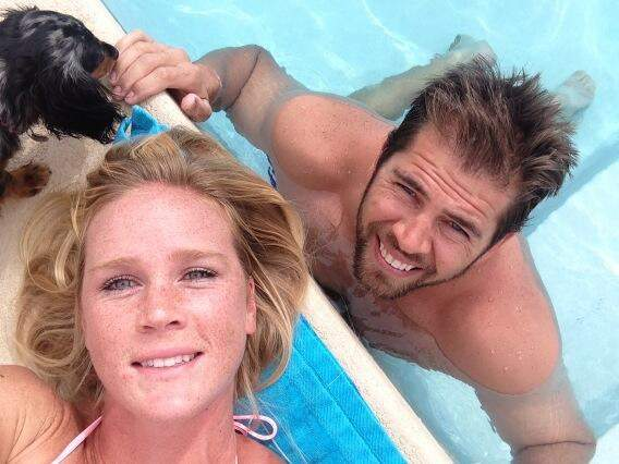 Jeff Kirkpatrick with his wife, Holly Holm in Cancun.