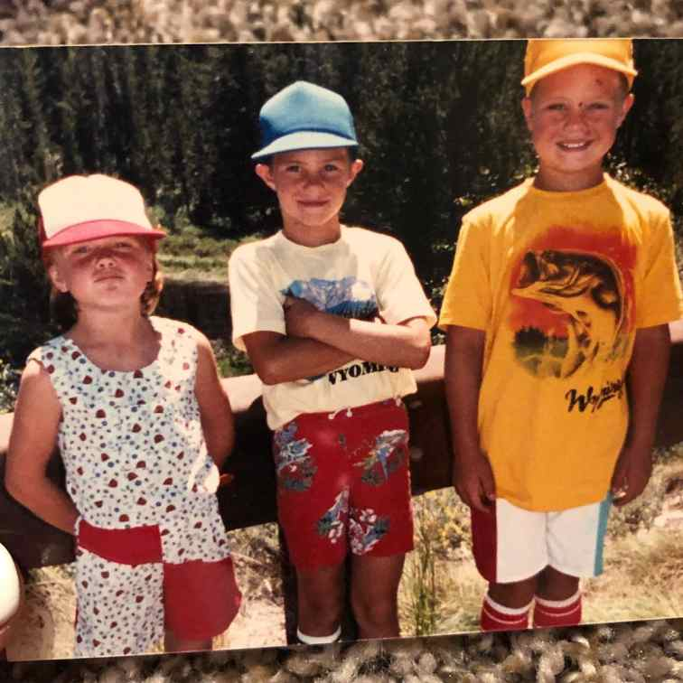 Childhood photo of Jeff Kirkpatrick's wife with her older brothers.