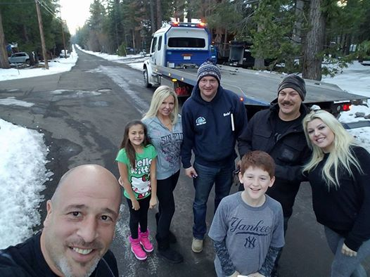 Brett Raymer with his wife, children, and relatives at Lake Tahoe.