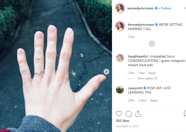 Kennedy McMann showing off her engagement ring