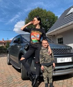 Emma Glover along with her car and son