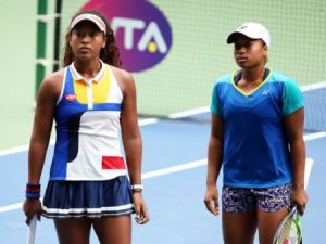 Serena with her sister Mari during WTA doubles tour