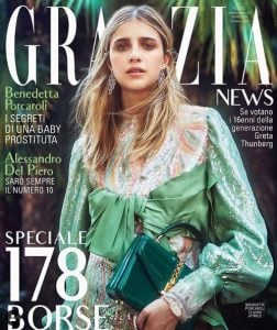 Benedetta Porcaroli as a model in the Italian magazine, Graziee