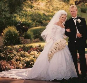 Valeri Bure with his wife, Candance Cameron Bure on their Big day