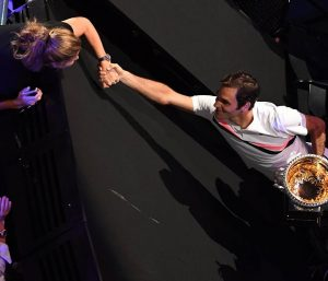 Mirka holding hand with husband Roger after he won the US open.