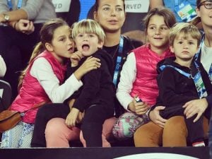Mirka twins son and daughter during the game.
