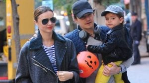 Flynn with his dad Orlando and mother Miranda.