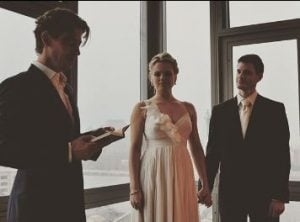 Amy Spanger during her wedding with her husband, Brian Shepard