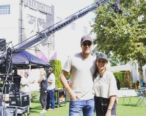 Christine Lakin on the set with her spouse, Brandon Breault