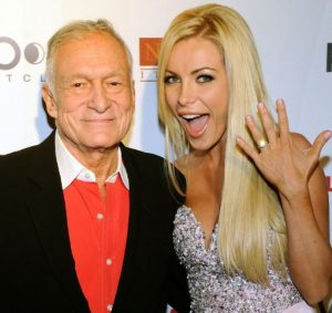 Crystal Harris with the late Hugh Hefner during the time of their engagement