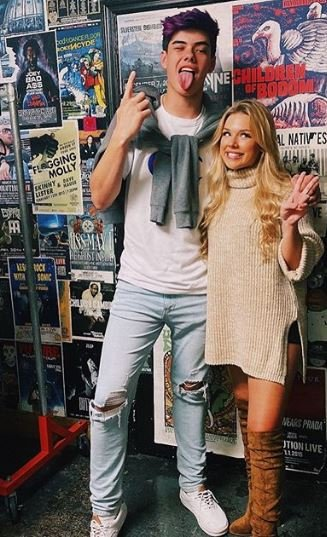 Sarah Graysun with her male friend
