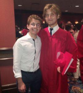Sean Giambrone congratulates his brother, Luke Giambrone on the day of his graduation
