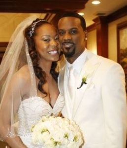 Sanya Richards Ross and her spouse Aaron Ross on their big day