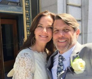 Terry Farrell on the day of her wedding with Adam Nimoy