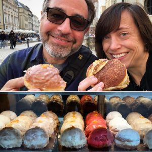 Lauren and her Husband eating donut in poland