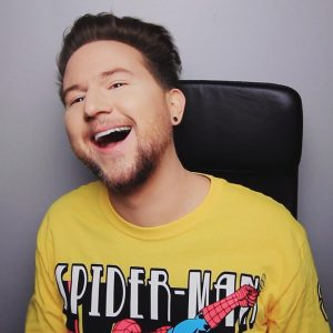 Ricky Dillion's laughing and teasing face at the same time
