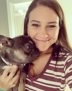 Danielle with her dog Beaux.