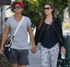 Bronson Pelletier with his ex-wife, Sabine Moestrup while walking on the streets