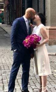 Elisa sharing love on her wedding day.