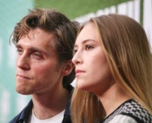 Jack Farthing with Hanako Footman at the premiere of Official Secrets