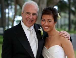 Jeffrey with his wife Tina on the marriage day.