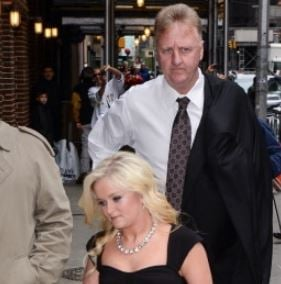 Mariah Bird with her father, Larry Bird entering to the Late Show With David Letterman