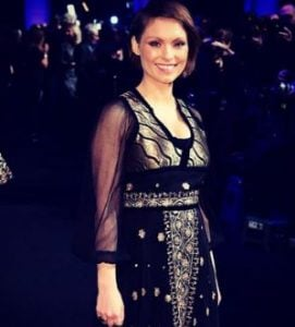 MyAnna Buring wearing gorgeous dress at BIFA 2016 gifted by Peekaboo Vintage