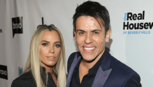 Teddi Mellencamp and her husband, Edwin Arroyave posing for a picture with a smile