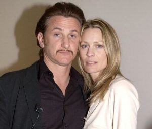 Sean Penn with his second and former wife, Robin Wright