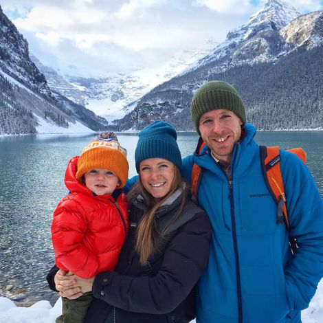 Tommy Caldwell with his wife and son