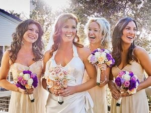 Charlie wife Elisa with her friends on the wedding day.
