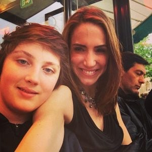 Sascha and her son Milo took picture during their lunch
