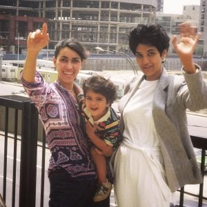 Leila took a picture with her mother and aunt when she was little