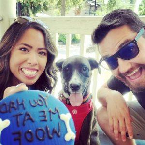 Megan with her boyfriend Jacob and Pet Duke celebrating birthday of Duke