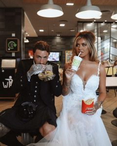 Jamie and Jack eating food after their marriage